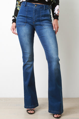 Long Pocket Bell Bottom Denim Jeans - Beauty & Bronze Clothing and Accessories