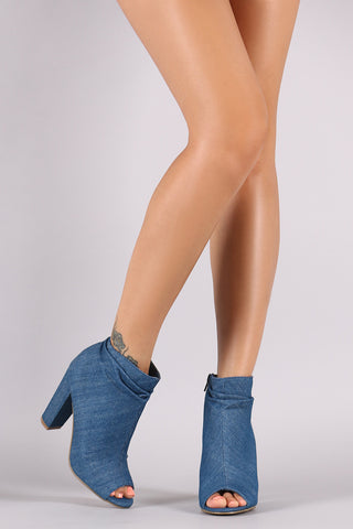 Bamboo Denim Slouchy Peep Toe Chunky Heeled Ankle Boots - Beauty & Bronze Clothing and Accessories