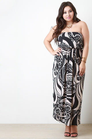 Paisley Patterned Print Strapless Maxi Dress - Beauty & Bronze Clothing and Accessories