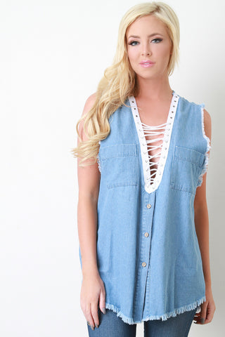 Frayed Denim Lace Up Sleeveless Top - Beauty & Bronze Clothing and Accessories