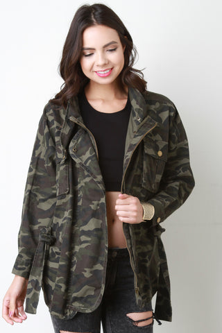 Camouflage Snap Button Belted Jacket - Beauty & Bronze Clothing and Accessories