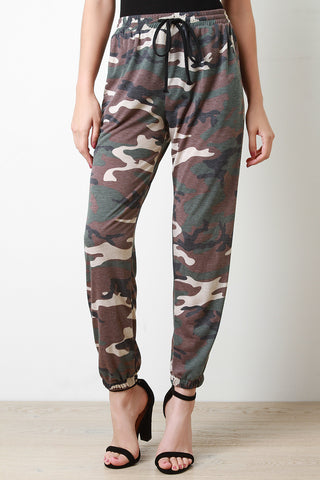 Elastic Waist Camo Print Jogger Pants - Beauty & Bronze Clothing and Accessories