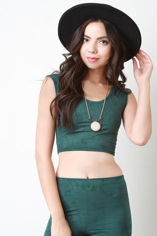Faux Suede Sleeveless Crop Top - Beauty & Bronze Clothing and Accessories