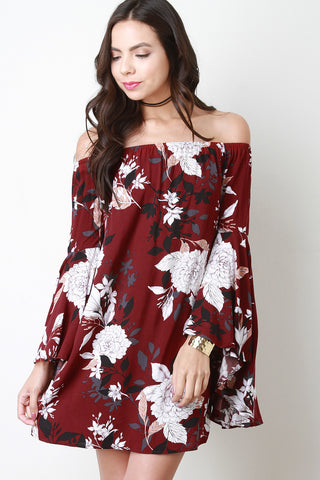 Floral Print Bell Sleeve Off-The-Shoulder Shift Dress - Beauty & Bronze Clothing and Accessories