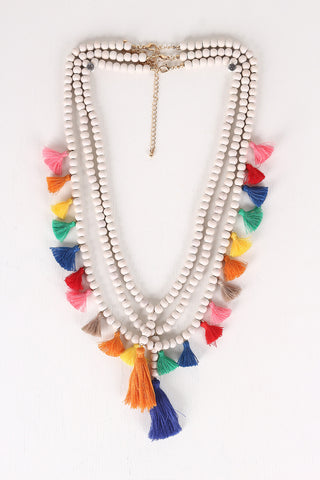 Festive Beaded Tassel Necklace Set - Beauty & Bronze Clothing and Accessories