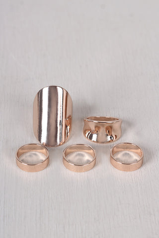 Simple Polished Band Ring Set - Beauty & Bronze Clothing and Accessories