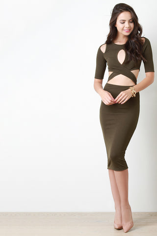 Criss Cross Cut Out Bodycon Dress - Beauty & Bronze Clothing and Accessories