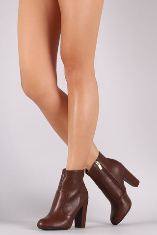 Bamboo Plain Chunky Heeled Ankle Boots - Beauty & Bronze Clothing and Accessories