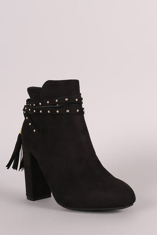 Bamboo Suede Studded Tassel Back Chunky Heeled Ankle Boots - Beauty & Bronze Clothing and Accessories
