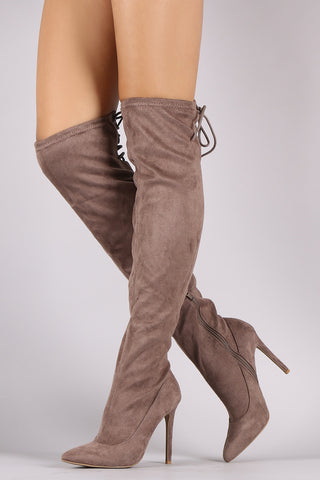 Anne Michelle Suede Back Lace Up Stretchy Stiletto Boots - Beauty & Bronze Clothing and Accessories