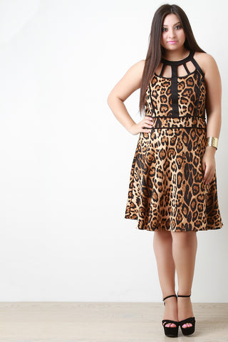 Caged Yoke Leopard Print Skater Dress - Beauty & Bronze Clothing and Accessories