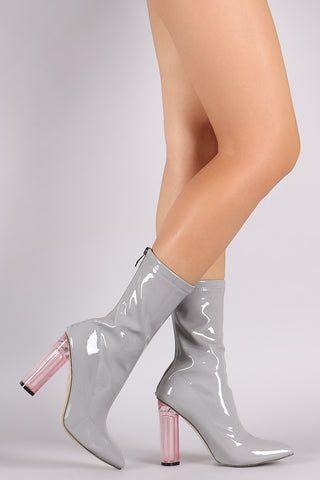 Patent Pointy Toe Lucite Heel Boots - Beauty & Bronze Clothing and Accessories
