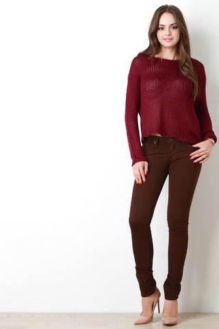 Chunky Loose Knit Boxy Sweater - Beauty & Bronze Clothing and Accessories