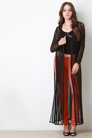 Contrast Mesh Longsleeve Maxi Cardigan - Beauty & Bronze Clothing and Accessories