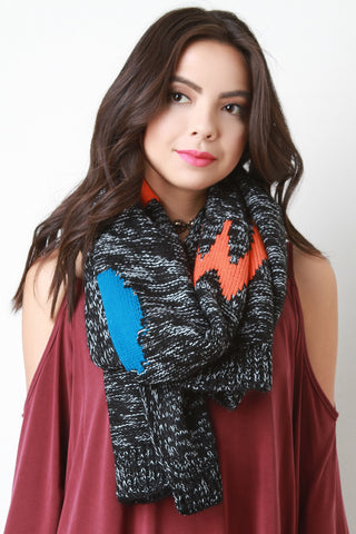 Colorful Patches Knitted Scarf - Beauty & Bronze Clothing and Accessories