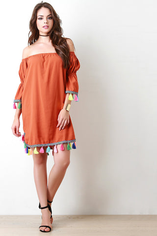 Neon Tassel Trim Off The Shoulder Shift Dress - Beauty & Bronze Clothing and Accessories