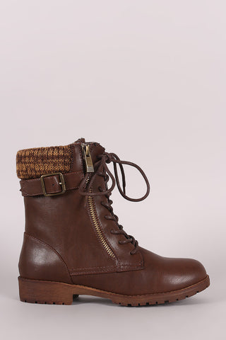 Bamboo Sweater Cuff Combat Lug Boots - Beauty & Bronze Clothing and Accessories