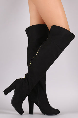 Bamboo Suede Studded Back Chunky Heeled Boots - Beauty & Bronze Clothing and Accessories