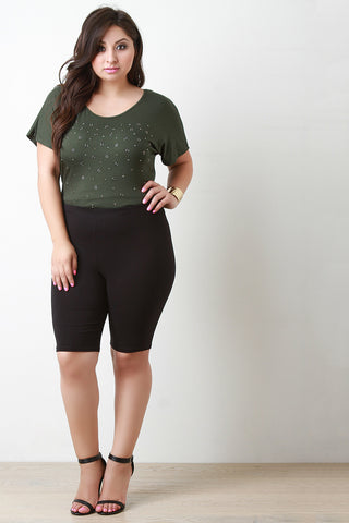 Knee Length Legging Shorts - Beauty & Bronze Clothing and Accessories