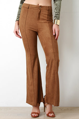 Suede Retro Bell Bottom Pants - Beauty & Bronze Clothing and Accessories