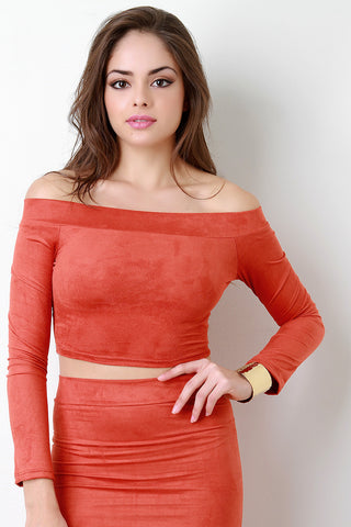 Banded Off The Shoulder Long Sleeves Crop Top - Beauty & Bronze Clothing and Accessories