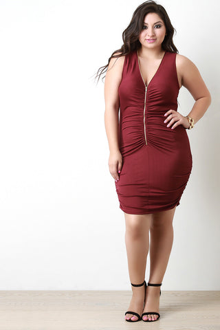 Adjustable Zipper Neckline Ruched Bodycon Dress - Beauty & Bronze Clothing and Accessories