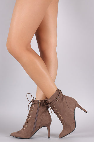 Bamboo Suede Pointy Toe Lace Up Booties - Beauty & Bronze Clothing and Accessories