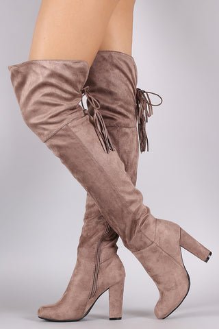 Bamboo Suede Back Tassel Lace Up Chunky Heeled Boots - Beauty & Bronze Clothing and Accessories