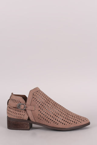 Bamboo Perforated Almond Toe Booties - Beauty & Bronze Clothing and Accessories