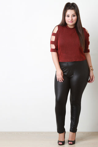 High Waisted Leather Leggings - Beauty & Bronze Clothing and Accessories