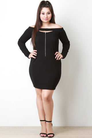 Bardot Keyhole Zipper Front Bodycon Dress - Beauty & Bronze Clothing and Accessories