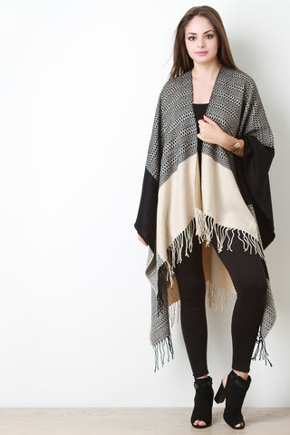 Open Fringe Hem Color-blocked Poncho - Beauty & Bronze Clothing and Accessories