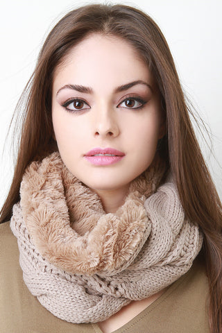 Chunky Knit Fur Lined Circle Scarf - Beauty & Bronze Clothing and Accessories