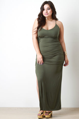 Plus Size Side Slit Maxi Dress - Beauty & Bronze Clothing and Accessories