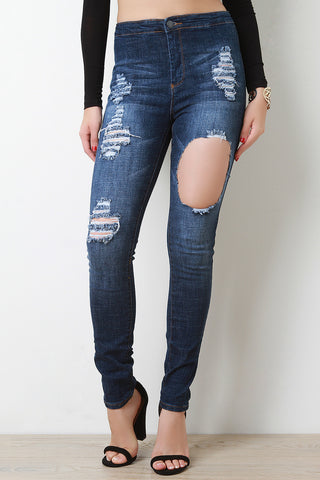 Distress High Waisted Two Pocket Jeans - Beauty & Bronze Clothing and Accessories