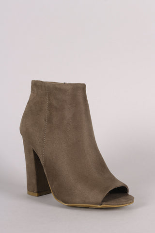 Bamboo Plain Suede Peep Toe Chunky Heeled Booties - Beauty & Bronze Clothing and Accessories