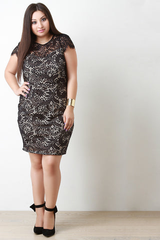 Cap Sleeve Lace Bodycon Mini Dress - Beauty & Bronze Clothing and Accessories