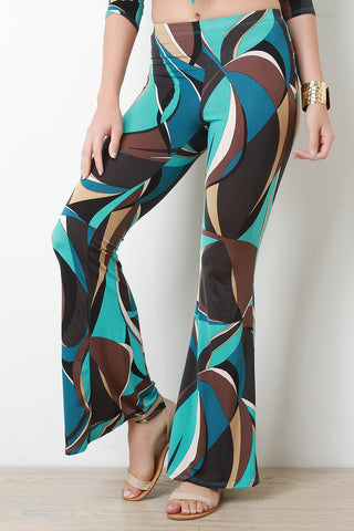 Colorful Abstract Print Mid Rise Bell Bottoms - Beauty & Bronze Clothing and Accessories