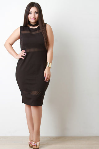 Choker Collar Mesh Insert Bodycon Dress - Beauty & Bronze Clothing and Accessories