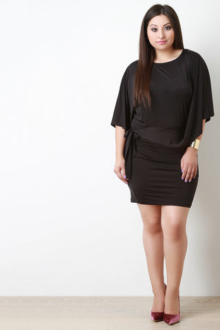 Asymmetrical Dolman Sleeve Tie Mini Dress - Beauty & Bronze Clothing and Accessories