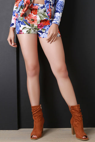 Colorful Blossom Print High Waisted Shorts - Beauty & Bronze Clothing and Accessories