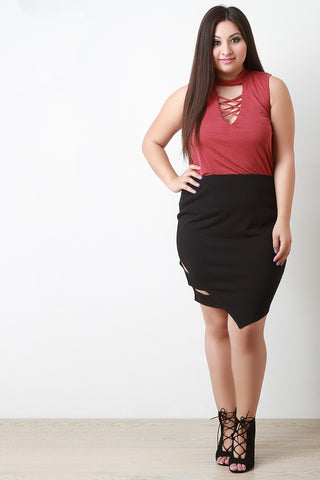 Cut Out Asymmetrical Midi Skirt - Beauty & Bronze Clothing and Accessories