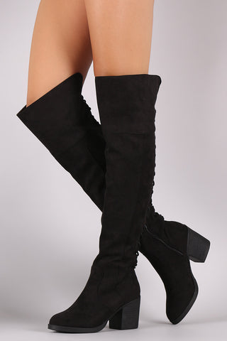 Bamboo Suede Back Lace Up OTK Boots - Beauty & Bronze Clothing and Accessories