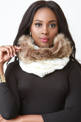 Cable Knit Faux Fur Trim Circle Scarf - Beauty & Bronze Clothing and Accessories