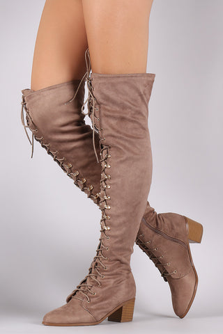 Corset Lace Almond Toe Fitted OTK Boots - Beauty & Bronze Clothing and Accessories