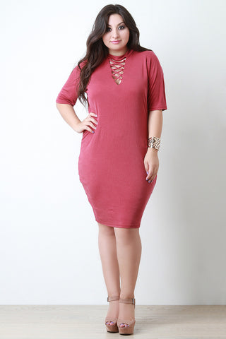Criss Cross Mock Neck Midi Dress - Beauty & Bronze Clothing and Accessories