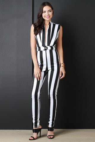 Contrast Stripped Sleeveless Jumpsuit - Beauty & Bronze Clothing and Accessories