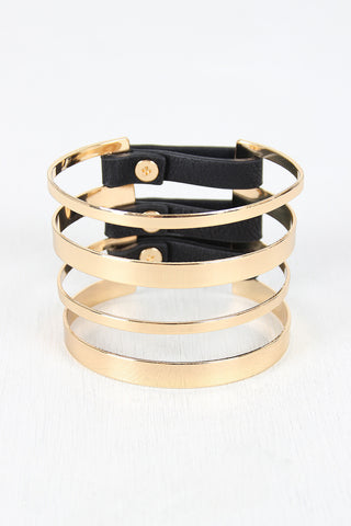 Banded Metallic And Vegan Leather Cuff - Beauty & Bronze Clothing and Accessories