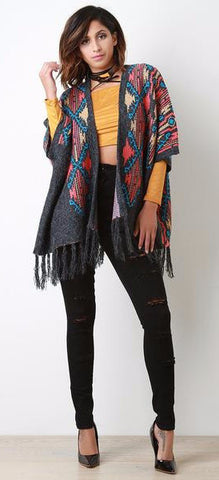 Aztec Pattern Frayed Tassel Open Front Poncho - Beauty & Bronze Clothing and Accessories