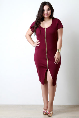 Double Zipper Back Cutout Bodycon Dress - Beauty & Bronze Clothing and Accessories